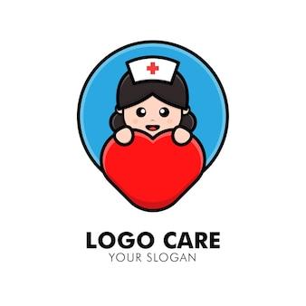 Cute Pielęgniarka Ilustracja Projektu Logo Opieki Medycznej Premium Wektorów