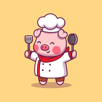 Cute pig chef animal food