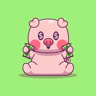 Cute pig gospodarstwa pieniądze