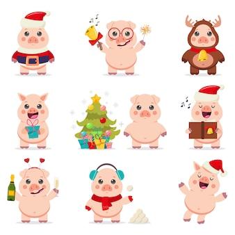 Cute pig w santa claus kostium wektor zestaw znaków kreskówka na białym tle na białym tle.