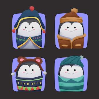 Cute pingwina akwarela w zimowe ubrania
