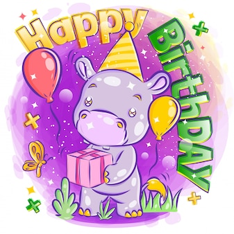 Cute podwzgórza świętować wszystkiego najlepszego z ilustracji prezent urodzinowy