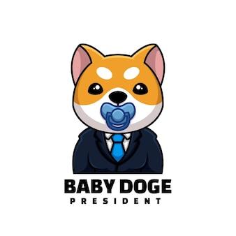 Cute president baby doge crypto cartoon creative logo