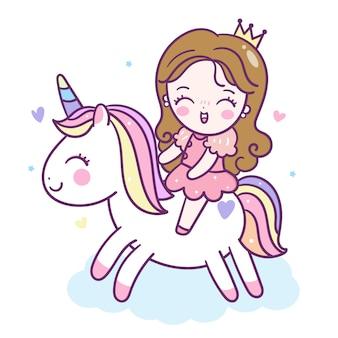 Cute princess jeździć kreskówka jednorożca