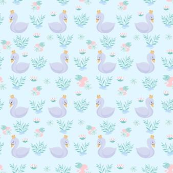 Cute queen swan bezszwowy wzór