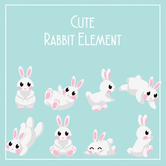 Cute rabbit day set bunny element