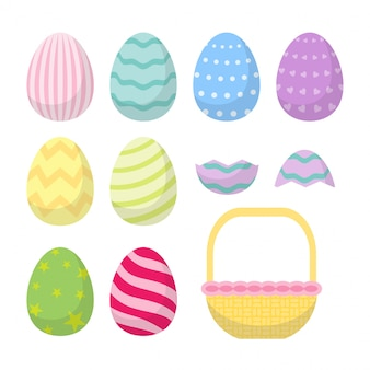 Cute rabbit easter day egg set colorfull