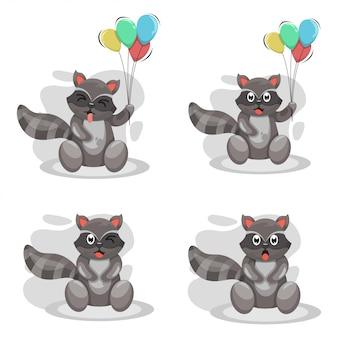 Cute raccoon mascot cartoon wektor