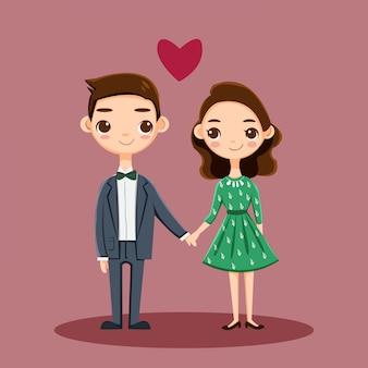 Cute romantyczna para znaków w miłości