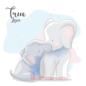 Cute słoń romantyczna para