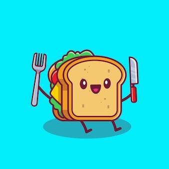 Cute sandwich trzymając nóż i widelec ikona ilustracja kreskówka. fast food kreskówka ikona koncepcja na białym tle. płaski styl kreskówki