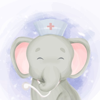 Cute smile doctor baby elephant