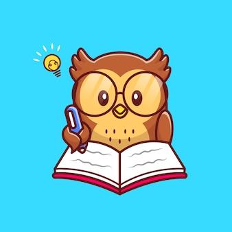 Cute sowa pisanie książki z pióro ikona ilustracja kreskówka. koncepcja ikona edukacja zwierząt na białym tle premium. płaski styl kreskówki