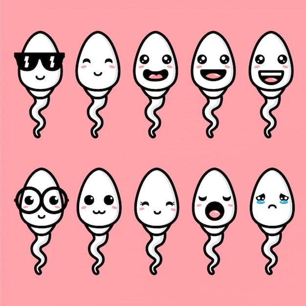 Cute spermy maskotka wektor wzór