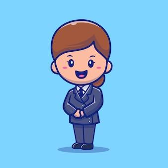 Cute stewardessa kreskówka ikona ilustracja wektorowa. koncepcja ikona zawód ludzi na białym tle premium wektorów. płaski styl kreskówki