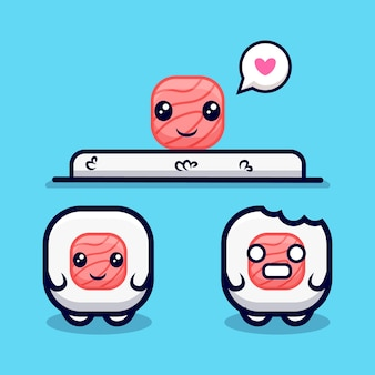 Cute sushi roll collection cartoon