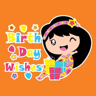 Cute syrenka jest zadowolona z urodzin wektora prezentu kreskówki, urodziny pocztówki, tapety i karty okolicznościowe, t-shirt projektu dla dzieci