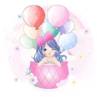 Cute syrenka latająca z balonem