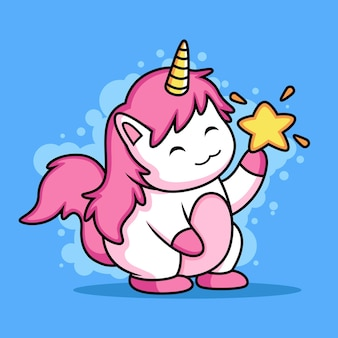 Cute unicorn play with star. koncepcja ikona zwierząt na białym tle na niebieskim tle