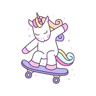 Cute unicorn playing deskorolka ilustracja, gotowy do wydruku.
