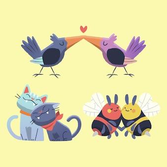 Cute walentynki zwierząt para