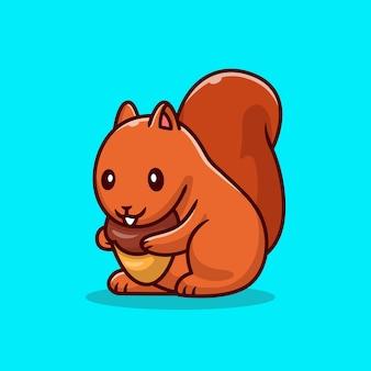 Cute wiewiórka trzymając nakrętkę kreskówka wektor ilustracja. wektor na białym tle koncepcja karmy dla zwierząt. płaski styl kreskówki