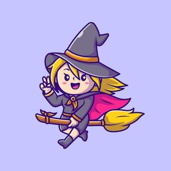 Cute witch kobieta jazda magiczna miotła ikona ilustracja kreskówka. ludzie halloween ikona koncepcja na białym tle. płaski styl kreskówki