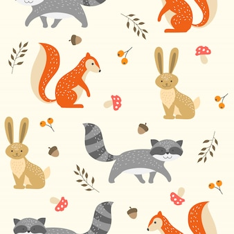 Cute woodland animal seamless pattern na tapetę