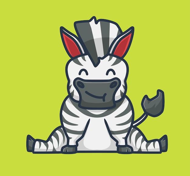 Cute zebra siedzi kreskówka zwierzę natura koncepcja na białym tle ilustracja płaski styl