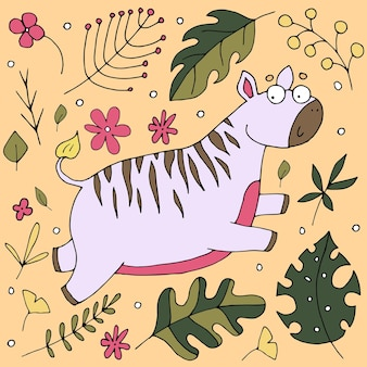Cute zebra skoki, ilustracja cute baby
