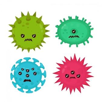 Cute zły zły zła infekcja wirusem zarazków, zestaw mikro bakterii.