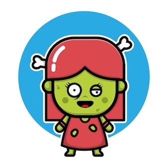 Cute zombie dziewczyna kreskówka postać halloween ilustracja koncepcja