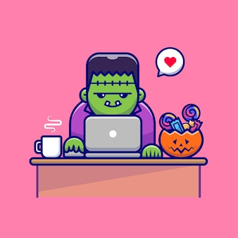 Cute zombie pracuje na laptopie z cukierkami i kawą