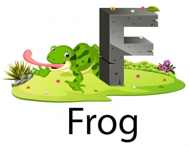 Cute zoo zwierząt alfabet f dla żaby z prawdziwym zwierzęciem
