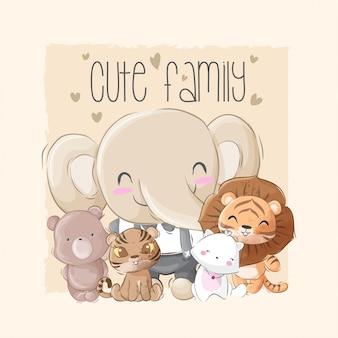 Cute zwierząt duża rodzina