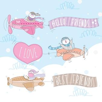 Cute zwierząt znaków pływających pod z samolotu
