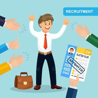 Cv biznes wznowić w ręku na białym tle na tle. klaskanie w dłonie, brawa za zaskoczonego szczęśliwego człowieka. rozmowa kwalifikacyjna, rekrutacja, poszukiwanie pracodawcy, koncepcja zatrudnienia. zasoby ludzkie hr. projekt