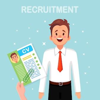 Cv biznesowe cv w ręku. rozmowa kwalifikacyjna, rekrutacja, poszukiwanie pracodawcy, zatrudnianie. zasoby ludzkie
