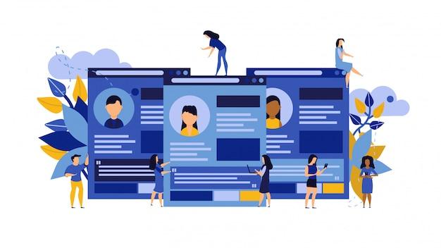 Cv biznesowe, ilustracja kandydat na pracownika kariery
