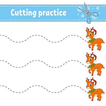 Ćwiczenia cięcia dla dzieci. arkusz rozwijający edukację.