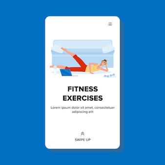 Ćwiczenia fitness dokonywanie kobieta w domu