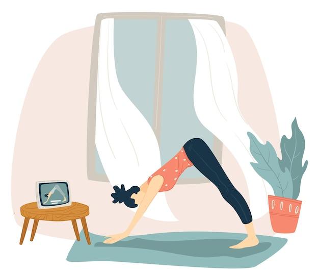 Ćwiczenia i treningi w domu podczas kwarantanny koronawirusa. kobieca postać robi asany jogi, oglądając filmy i samouczki online. aktywny styl życia i trening sportowy. wektor w stylu płaskiej