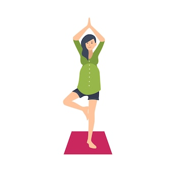 Ćwiczenia jogi ładny kobieta w ciąży. urocza postać kobieca czeka narodziny dziecka wykonując trening gimnastyczny. zdrowa ciąża. kolorowa ilustracja wektorowa w stylu płaskiej kreskówki