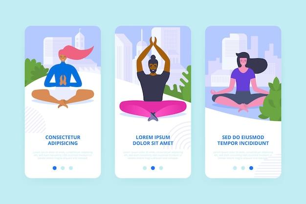 Ćwiczenia jogi onboarding ekrany koncepcja kreskówka. mobilne strony do medytacji z instrukcjami. równowaga i koncentracja. interfejs aplikacji, szablony ux z płaskimi ilustracjami i przestrzenią tekstową