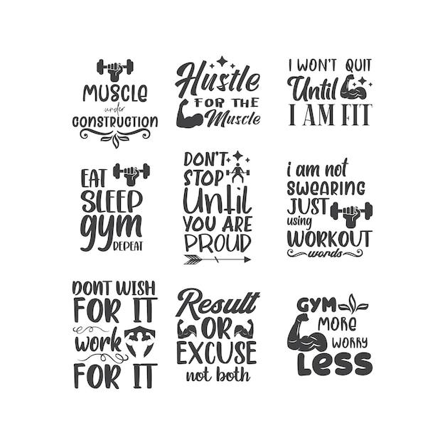 Ćwiczenia na siłowni cytują napis typografię