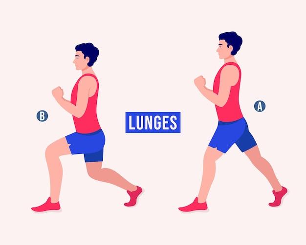Ćwiczenia na wykroki mężczyźni ćwiczą fitness aerobik i ćwiczenia