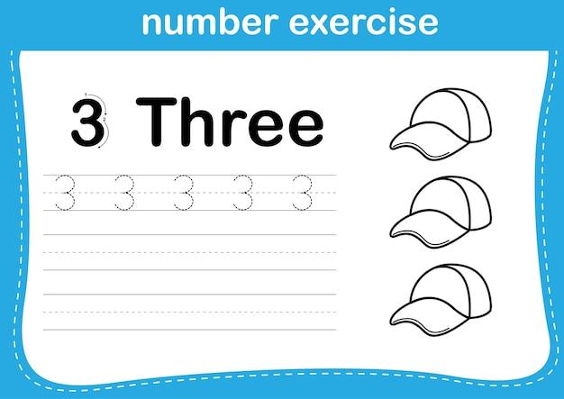 Ćwiczenia numeryczne z kolorowanką ilustracja kreskówka