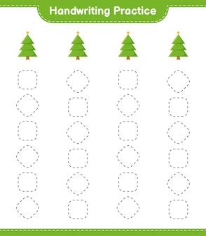 Ćwiczenia pisma ręcznego. śledzenie linii choinki. gra edukacyjna dla dzieci, arkusz do druku