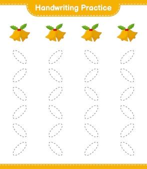 Ćwiczenia pisma ręcznego. śledzenie linii dzwonka bożonarodzeniowego. gra edukacyjna dla dzieci, arkusz do druku