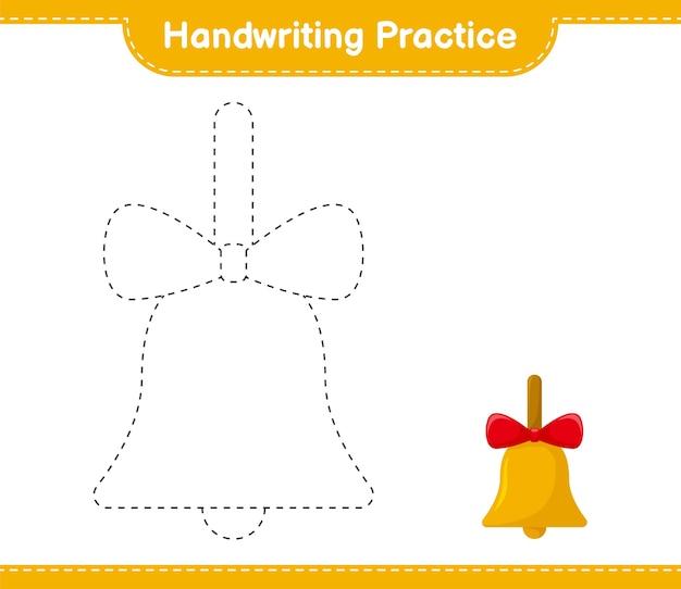 Ćwiczenia pisma ręcznego. śledzenie linii golden christmas bells. gra edukacyjna dla dzieci, arkusz do druku